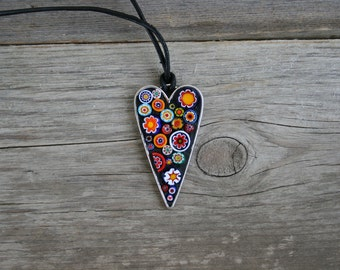 Mosaic Pendant-Heart with millefiori, Wearable Art