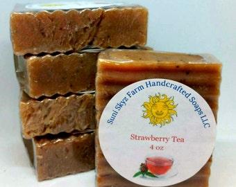 Strawberry Tea Soap - Strawberry Soap - Artisan Strawberry Tea Soap - Handcrafted Strawberry Tea Soap - Handcrafted Strawberry Soap