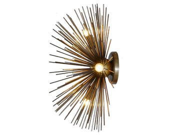 Mid Century Handcrafted Wall Lamp Brass Starburst Light Wall Sconce Low Ceiling Lamp Light