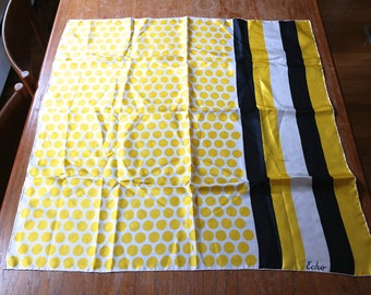 Vintage Echo Silk Scarf Yellow Black Off White Polka Dots Stripes Rolled Hems