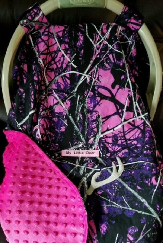 Car Seat Canopy Muddy Girl Fleece Camo Baby N Bright Pink