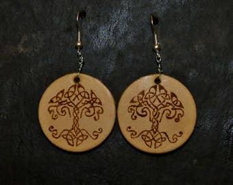 Hand Engraved Celtic Leather Earrings