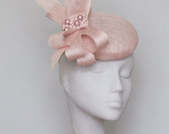 Pale Pink Fascinator- Royal Ascot Hat - Kentucky Derby Hat - Wedding Hat- Race Day Hat