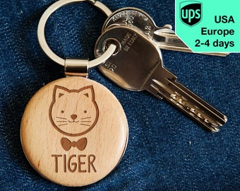 Cat - key chain, personalized laser engraved wooden key chain