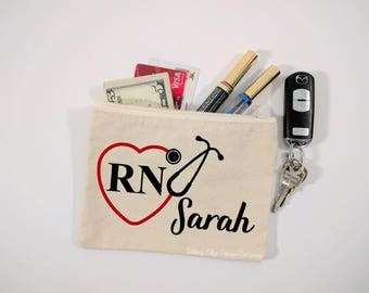Personalized RN Stethoscope Heart Canvas Zipper Bag | Nursing Student | Gift for Her | Cosmetic Bag  | Nurse Bag | Nursing Gift | Nurse Gift