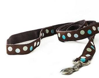 Turquoise Polka Dot Dog Leash