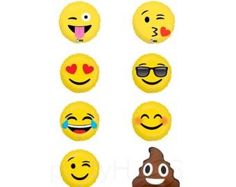 "Emoji Balloons 18"" Emoticon Love, Smiley, LOL, Wink, Sunglasses, I Heart You, Poop"