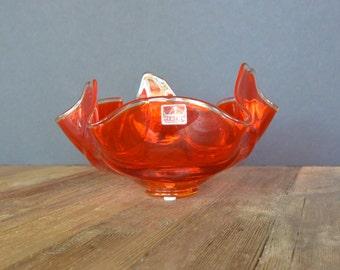 Deep Orange Free Form Glass Bowl by Viking