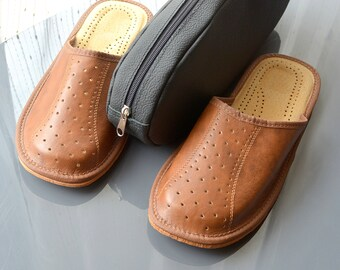 Man slippers & Leather case, natural leather slippers, man shoes, leather shoes, home slippers, Traveling set