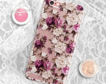 Floral iPhone 7 Case Clear iPhone 7 Plus Case Clear Samsung Galaxy S7 Edge Case Rubber iPhone 6S Plus Case iPhone 5S Case iPhone 6 Case