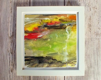 Original abstract framed painting mixed media on paper, modern contemporary art, watercolour acrylic multi-colours, green red yellow art