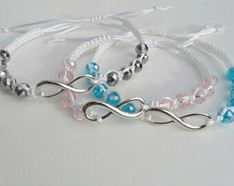 Plated silver Infinity Makrame bracelet,White knotted bracelet,Woven bracelet,Infinity jewelry,Adjustable bracelet,Friendship bracelet