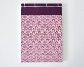 Small Japanese Notebook, hand bound, Chiyogami paper, waves, berry, plum, white, stab binding - Journal, Diary, Sketchbook, Travel Book
