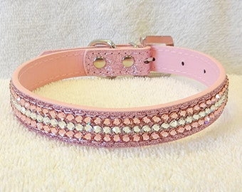 Pink Rhinestone Dog Collar, Swarovski Bling Dog Collar with Rhinestone Buckle, Medium Glitter Pet Collar