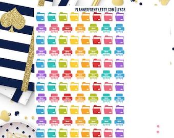 88 File Folder and Shredder Planner Stickers! LF603