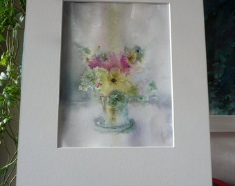 Original watercolor painting: Bouquet in light of winter