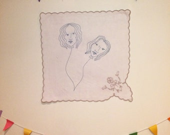 Float (2016) machine embroidery handmade illustration drawing art girl