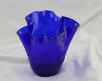 Cobalt Blue Art Glass Handkerchief Vase