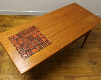 1960's Danish Coffee Table with inset Tiles.