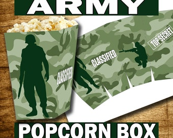 ARMY PARTY, Army Birthday, Army Party Supplies, Paintball Party, Paintball Birthday, Army Popcorn Box, Paintball Popcorn box