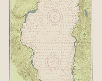 Lake Tahoe Map 1951 - fun Green