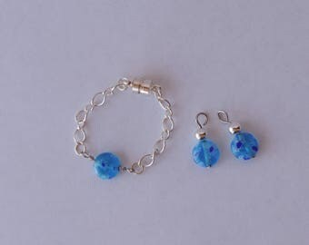 Summer Blue Earrings and Bracelet for American Girl Doll and other 18 inch dolls