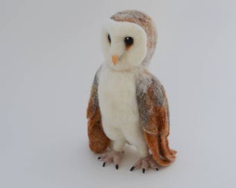 Needle Felted Barn Owl, Barn Owl Sculpture, READY TO SHIP, Barn Owl Art , Needle Felted Animal, Brown and White Owl Sculpture. Owl Gift