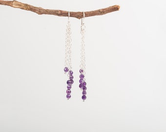 Sterlingsilver earrings with amethyst, long triple chain earrings, amethyst earrings, amethyst birthstone,Sterlingsilver earrings,gemstone