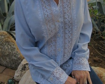 Embroidered Powder Blue and White Eyelet Blouse with Pearl Buttons