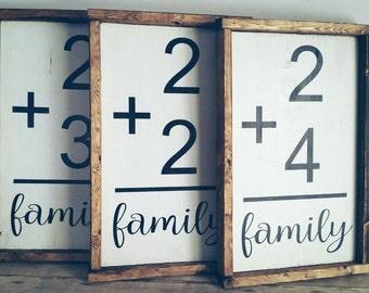 Family flash card math sign rustic barnwood farmhouse framed math themed family number sign