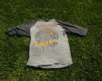 rare 1982 iron maiden rock jersey t original.