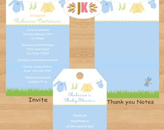 Clotheline Baby Clothesline Baby Shower Printed Invitations