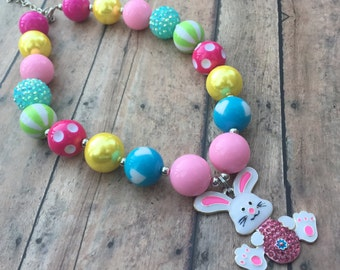 Easter Chunky Necklace - Easter Bunny - Easter Necklace - Little Girl Bead Necklace - Toddler - Photo Prop - bunny jewelry