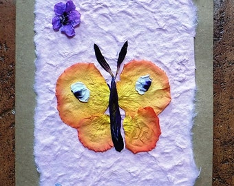 Greeting Card. Pressed Flower Card. Blank inside for your own message. Hand-made card using home-grown flowers