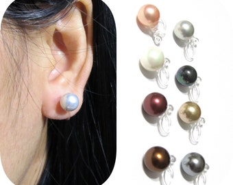 8mm MOP Shell Pearl clip on earrings |10A| Comfortable clip-on stud Non Pierced Earrings Invisible Bridal clip on Wedding Clip on earrings