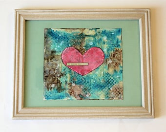 Mixed Media Art, wall art, gift for her, home decor, painting, handmade, one of a kind, art, mixed media collage, mixed media, Pink Heart