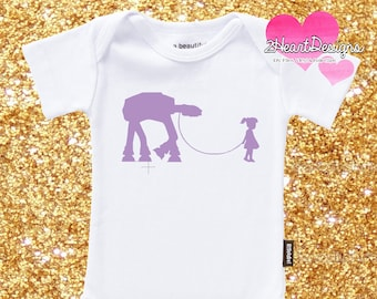 SHIPPED Vinyl Girl walking At-At - Baby to Adult Sizes - Quote - Iron On Vinyl