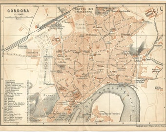 1906 map of cordoba spain antique map  vintage wall decor.