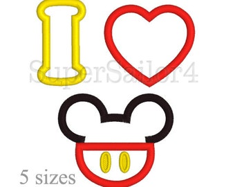 I Love Mouse applique design, Mouse applique design, Mickey applique design