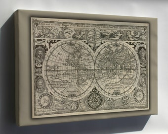 Canvas 24x36; Map Of The World 1628