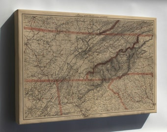 Canvas 24x36; Map Of Eastern Tennessee 1865