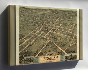 Canvas 24x36; Birdseye View Map Of Huntsville Alabama 1871