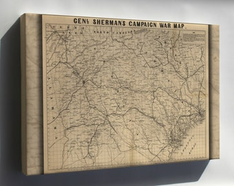 Canvas 24x36; General Shermans Civil War Campaign Map 1864