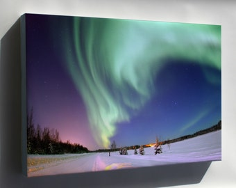 Canvas 16x24; Aurora Borealis, Or Northern Lights, Bear Lake Alaska