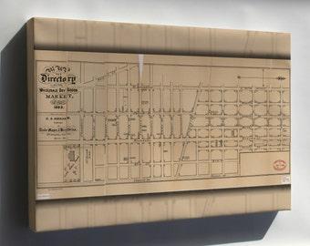 Canvas 16x24; Map Directory Wholesale Market New York City 1883