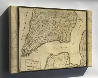 Canvas 16x24; New York City Map 1776. Map Has Had Border Cropped And Color Adjusted From Original