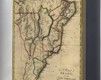 Canvas 16x24; Map Of Brazil, Or New Portugal 1814 P1