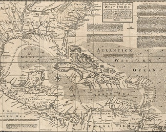 16x24 Poster; Map Of West Indies Cuba Florida Mexico 1750 P2