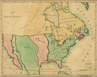 16x24 Poster; Map Of North America 1803 Pre United States