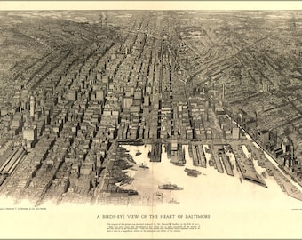 16x24 Poster; Birdseye View Map Of The Heart Of Baltimore 1912